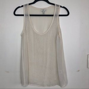 Joie cream sheer tank top with small raised dot S